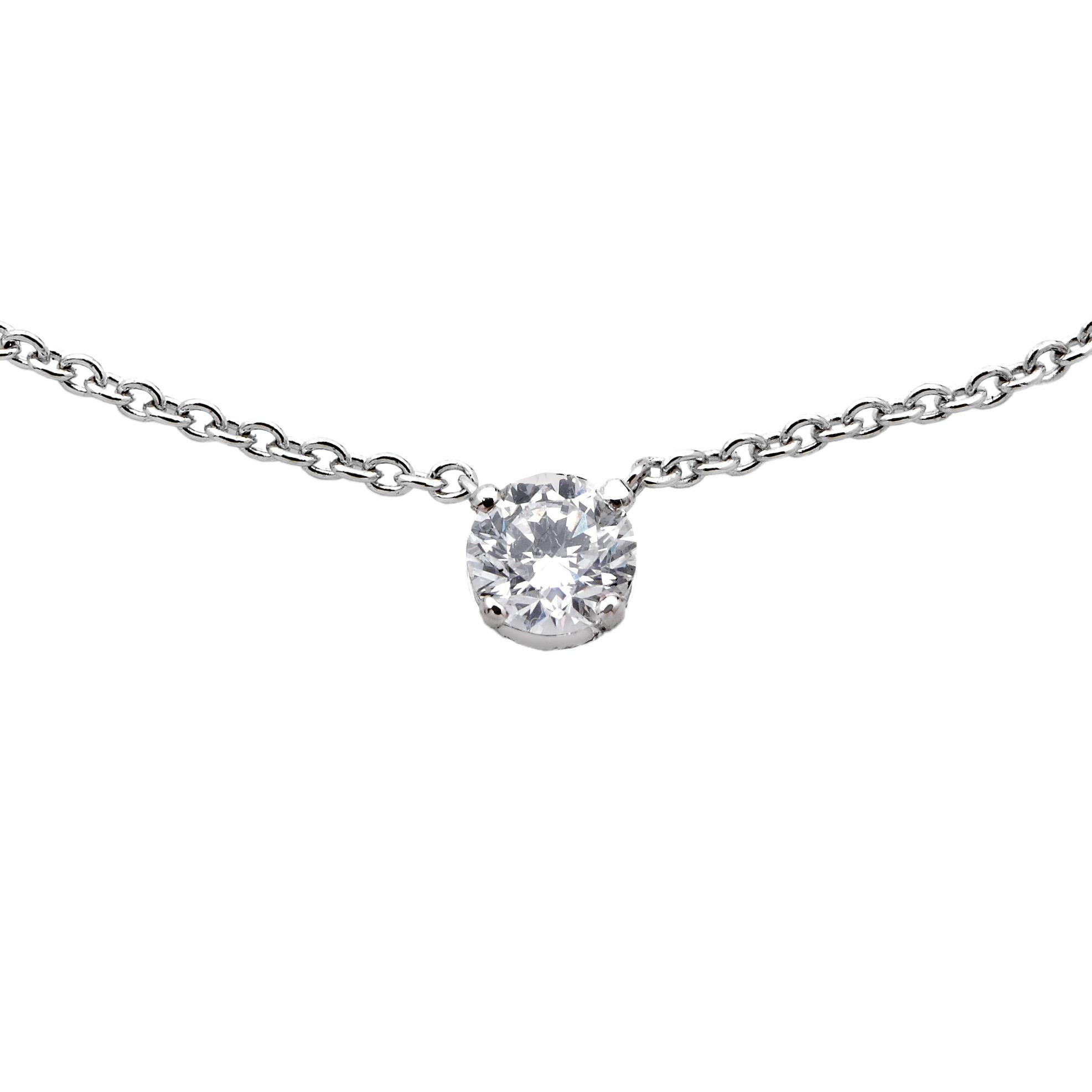 Pendentif Diamant et Or gris serti quatre griffes - Pascal IZERN